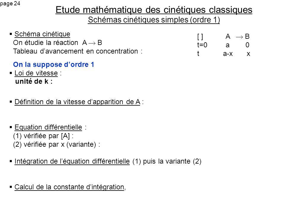 Etude mathématique des cinétiques classiques Schémas cinétiques simples (ordre 1)