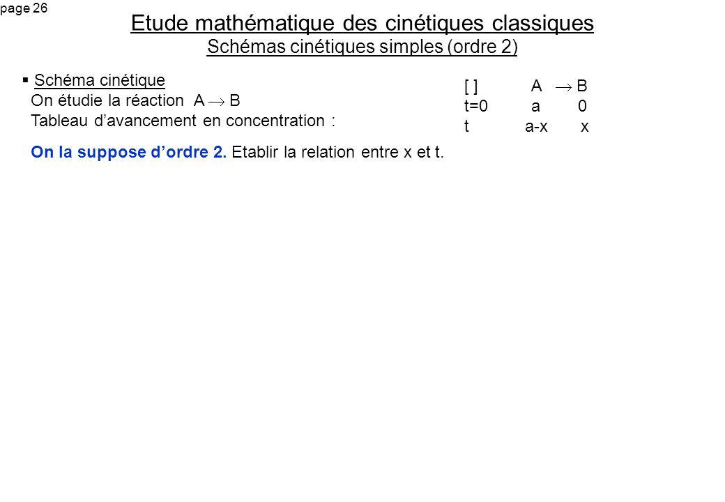 Etude mathématique des cinétiques classiques Schémas cinétiques simples (ordre 2)