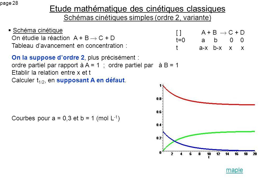 Etude mathématique des cinétiques classiques Schémas cinétiques simples (ordre 2, variante)