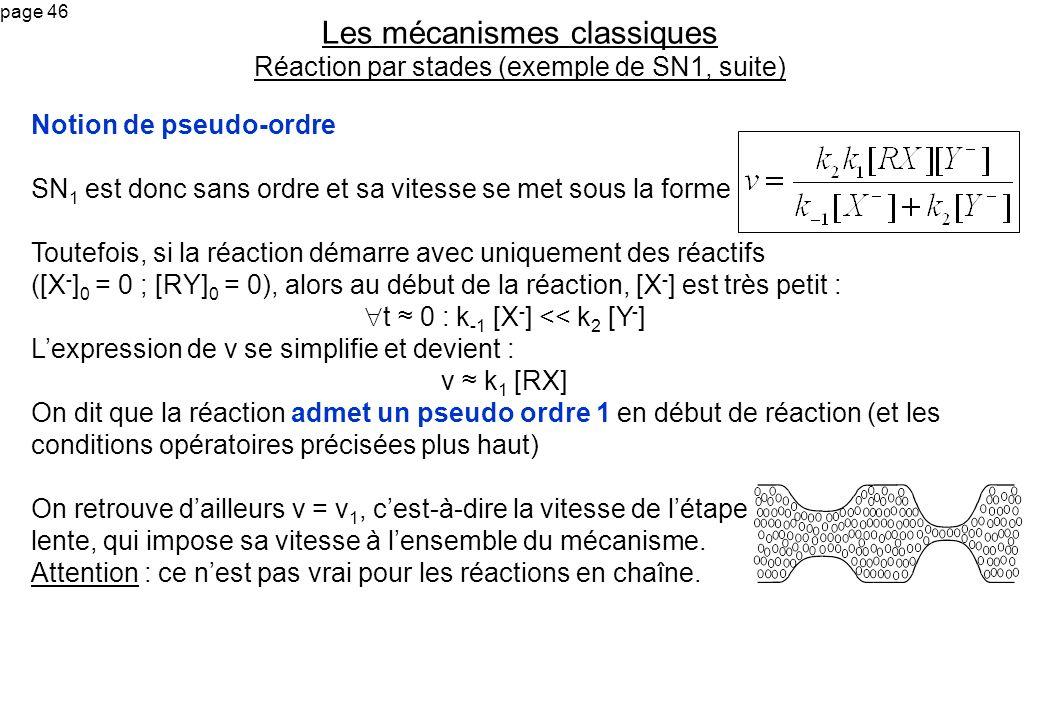 Les mécanismes classiques Réaction par stades (exemple de SN1, suite)