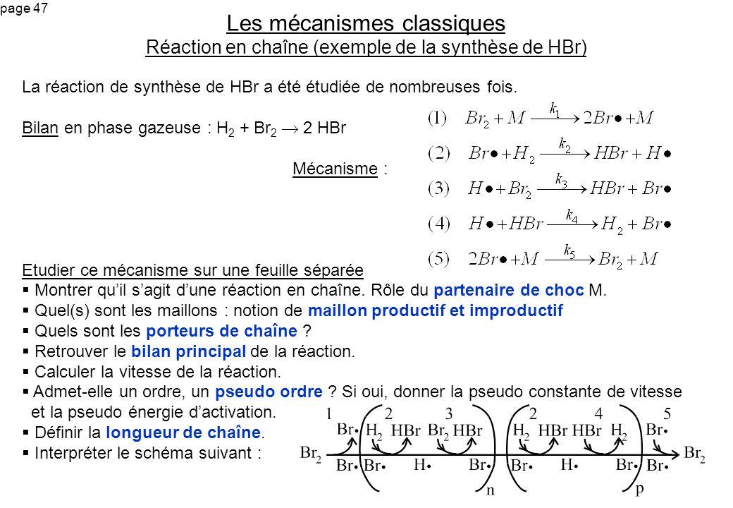 Les mécanismes classiques Réaction en chaîne (exemple de la synthèse de HBr)