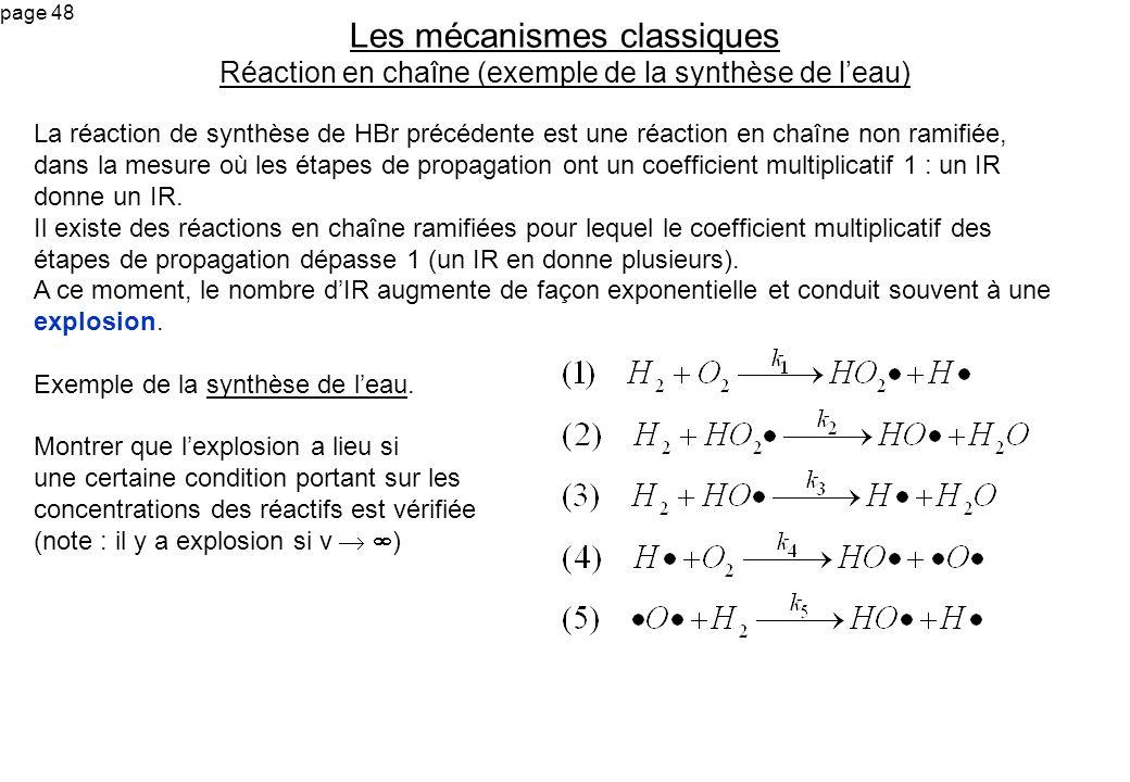 Les mécanismes classiques Réaction en chaîne (exemple de la synthèse de l'eau)