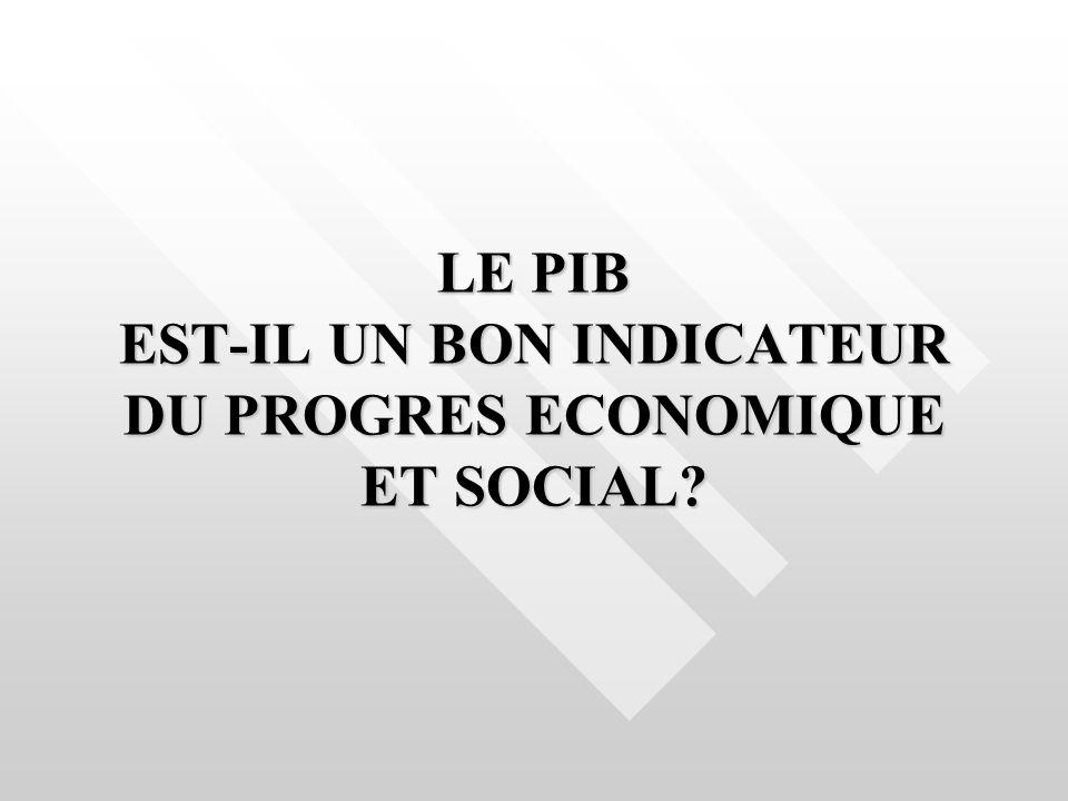 LE PIB EST-IL UN BON INDICATEUR DU PROGRES ECONOMIQUE ET SOCIAL