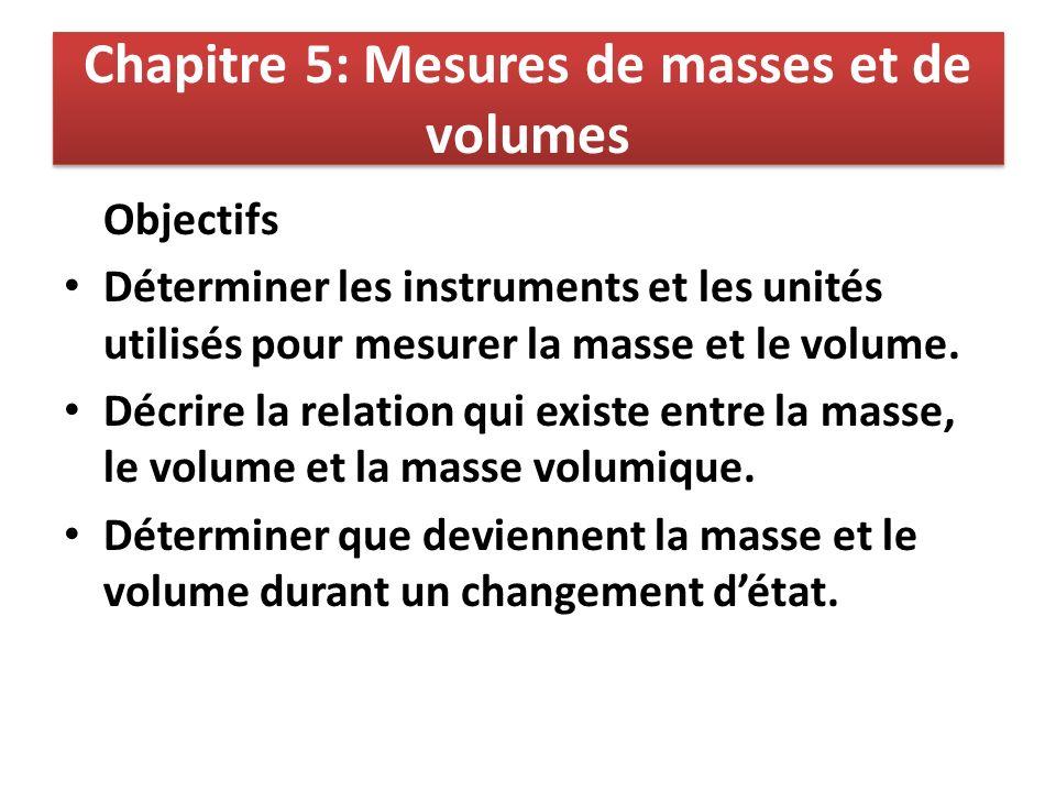 Chapitre 5: Mesures de masses et de volumes