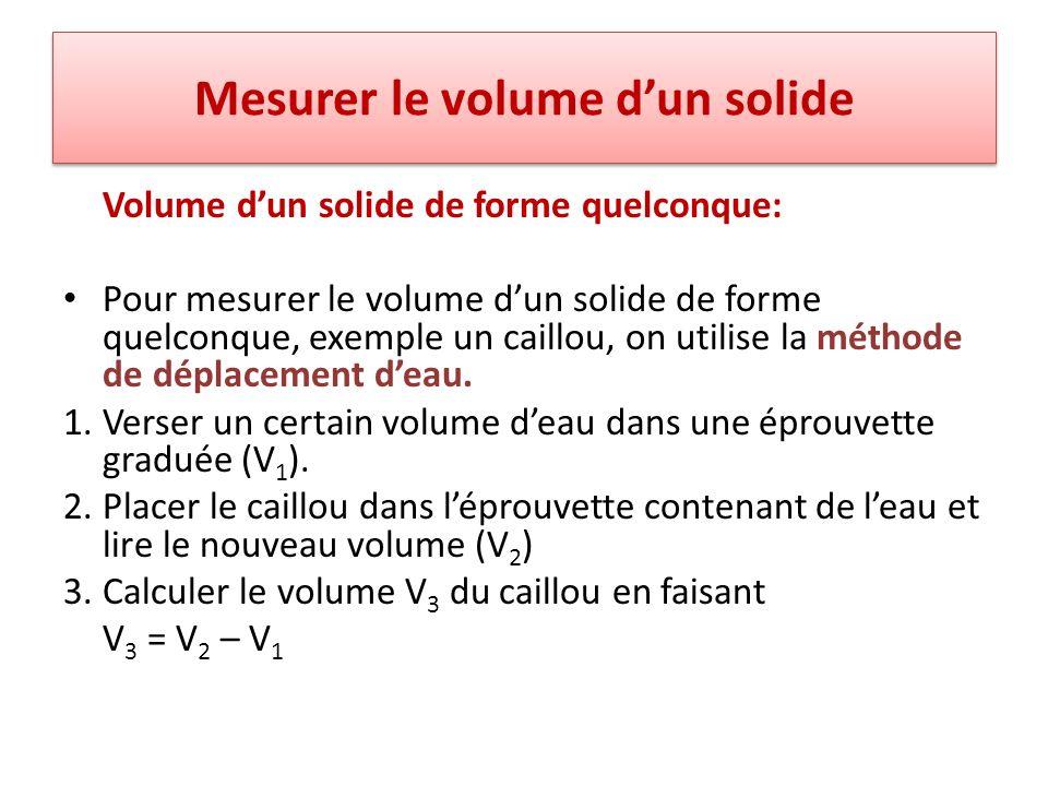 Mesurer le volume d'un solide