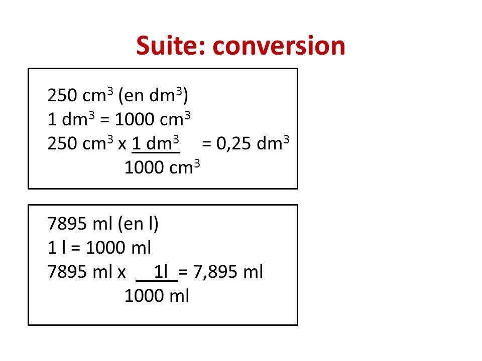 Suite: conversion 250 cm3 (en dm3) 1 dm3 = 1000 cm3 250 cm3 x 1 dm3 = 0,25 dm3 1000 cm3 7895 ml (en l) 1 l = 1000 ml 7895 ml x 1l = 7,895 ml 1000 ml