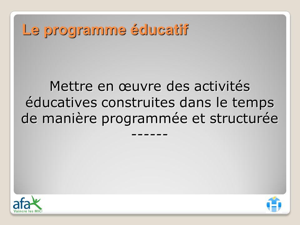 Le programme éducatif Mettre en œuvre des activités éducatives construites dans le temps de manière programmée et structurée ------
