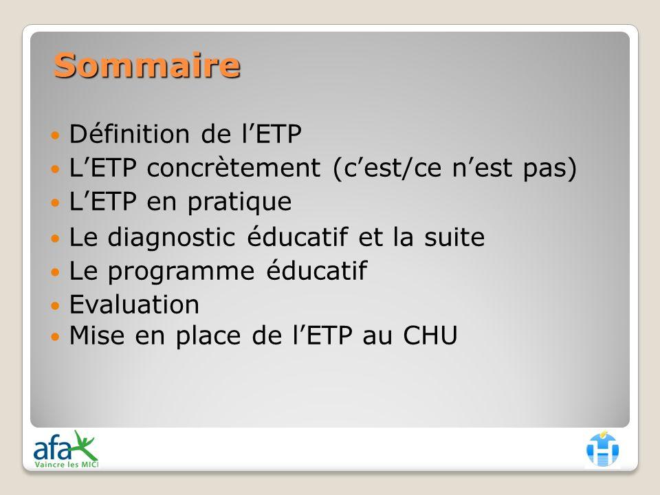 Sommaire Définition de l'ETP L'ETP concrètement (c'est/ce n'est pas)