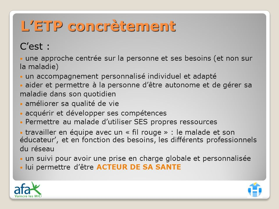 L'ETP concrètement C'est :