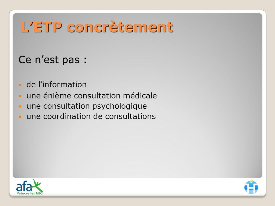 L'ETP concrètement Ce n'est pas : de l'information