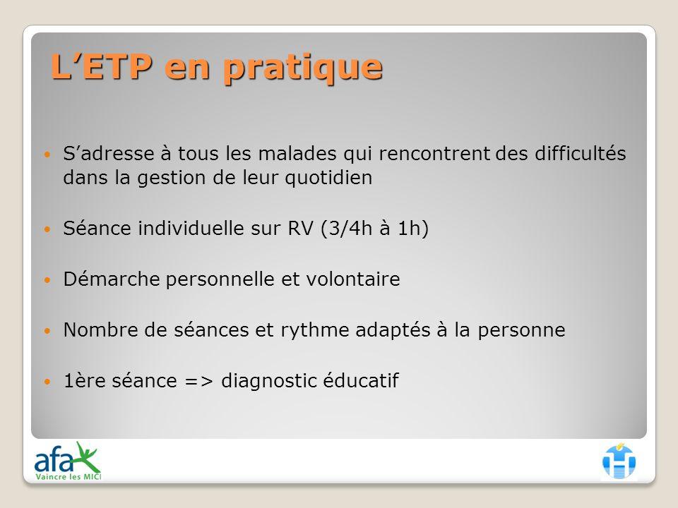 L'ETP en pratique S'adresse à tous les malades qui rencontrent des difficultés dans la gestion de leur quotidien.