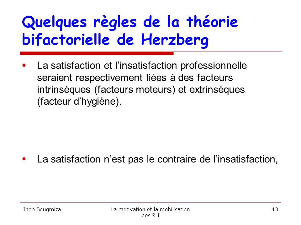 Quelques règles de la théorie bifactorielle de Herzberg