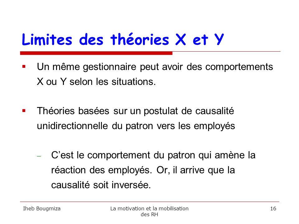 Limites des théories X et Y