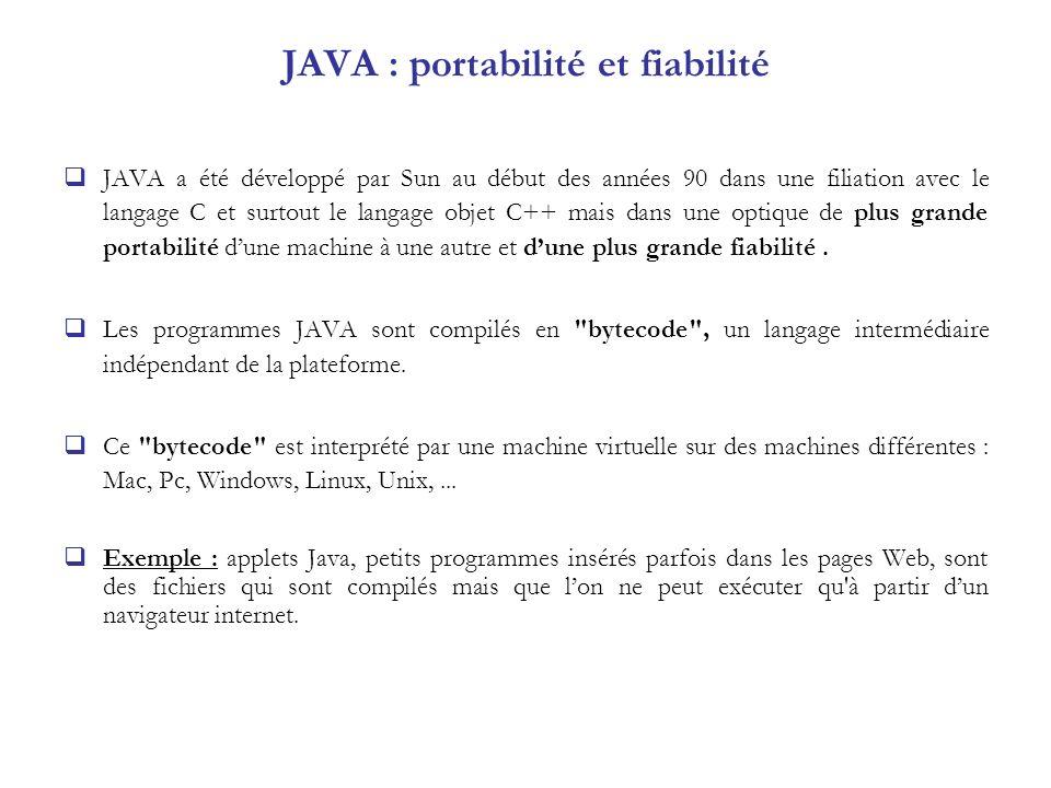 JAVA : portabilité et fiabilité