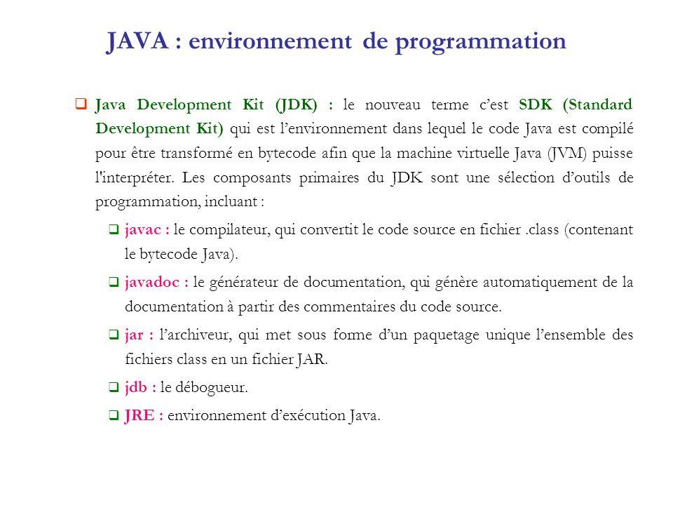 JAVA : environnement de programmation