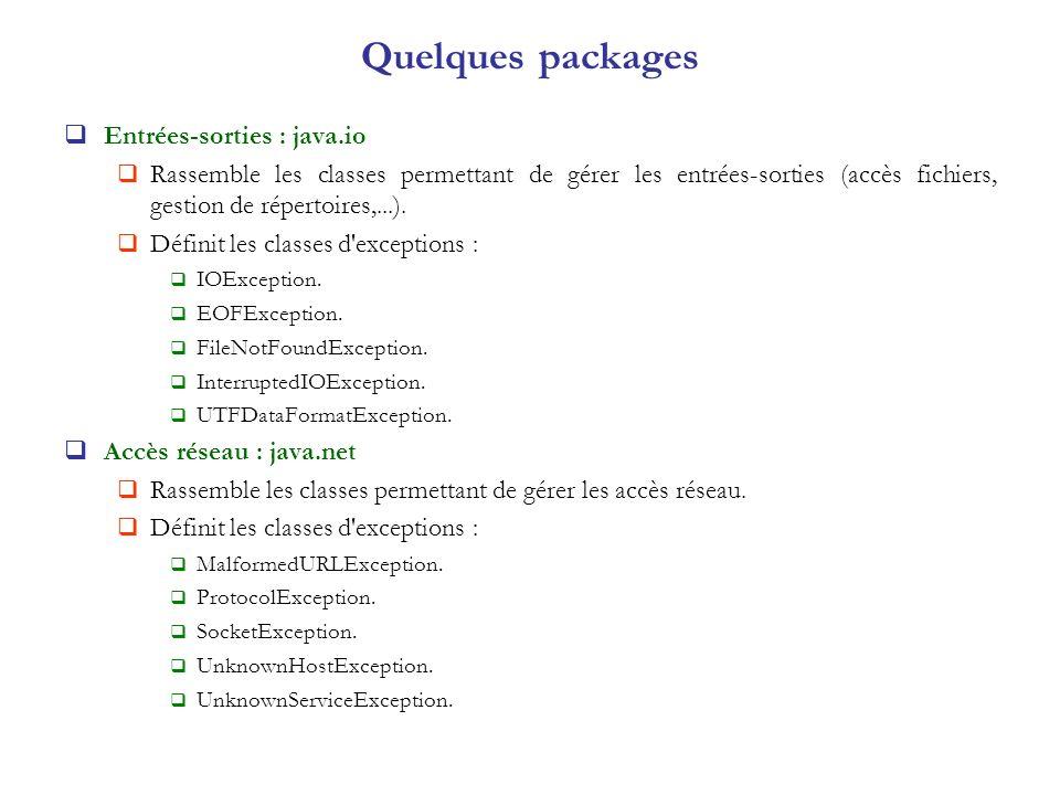 Quelques packages Entrées-sorties : java.io