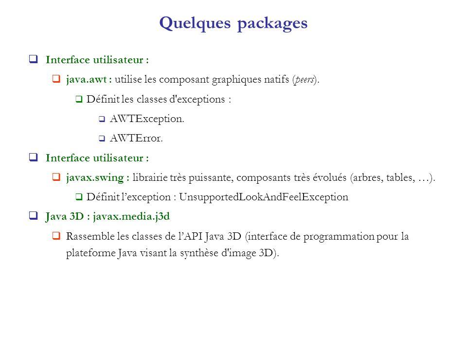 Quelques packages Interface utilisateur :