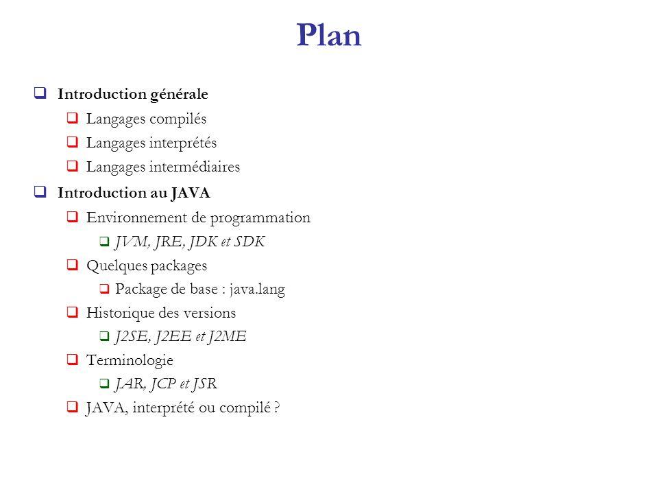 Plan Introduction générale Langages compilés Langages interprétés