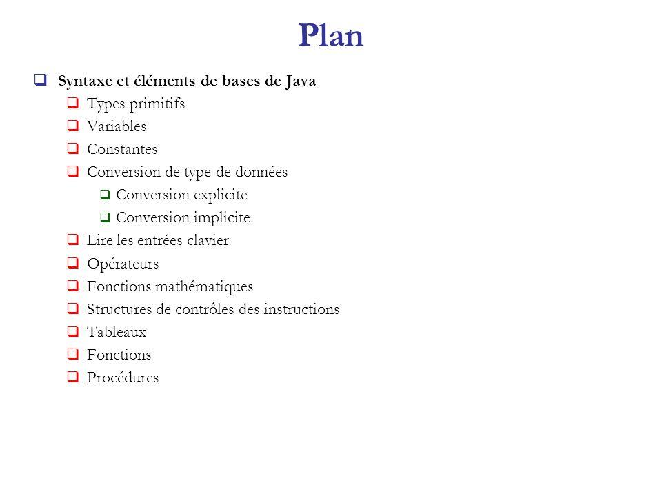 Plan Syntaxe et éléments de bases de Java Types primitifs Variables