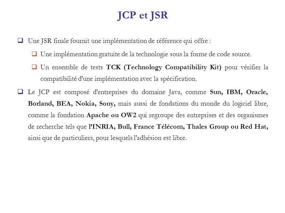 JCP et JSR Une JSR finale fournit une implémentation de référence qui offre :