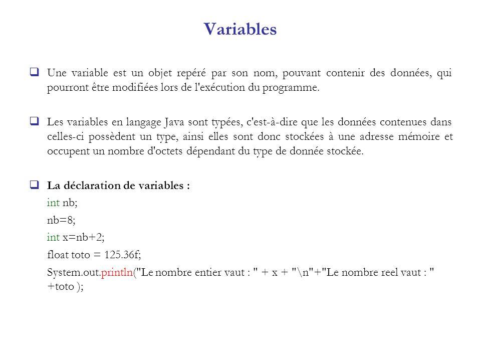 Variables Une variable est un objet repéré par son nom, pouvant contenir des données, qui pourront être modifiées lors de l exécution du programme.