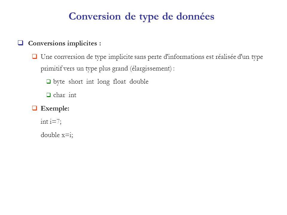Conversion de type de données