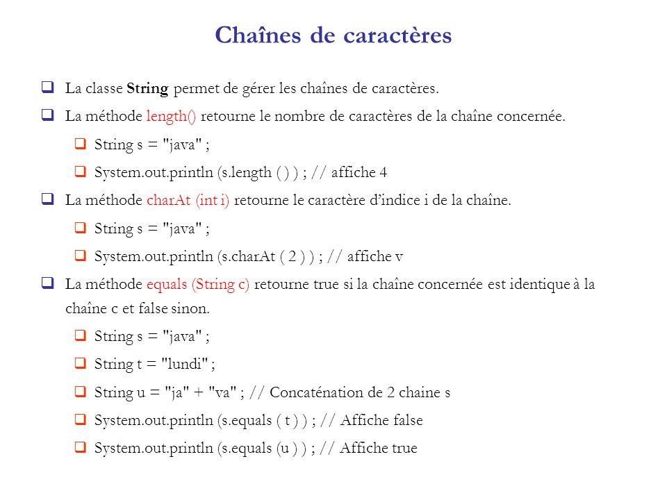 Chaînes de caractères La classe String permet de gérer les chaînes de caractères.