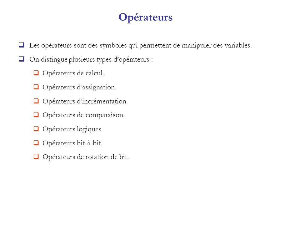 Opérateurs Les opérateurs sont des symboles qui permettent de manipuler des variables. On distingue plusieurs types d'opérateurs :