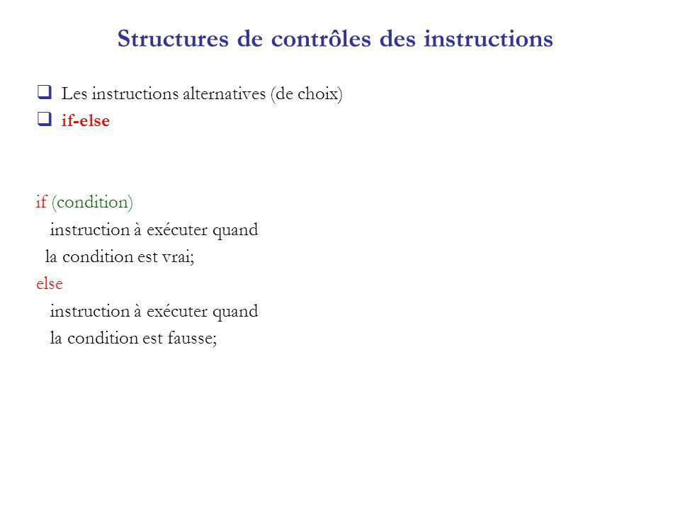 Structures de contrôles des instructions
