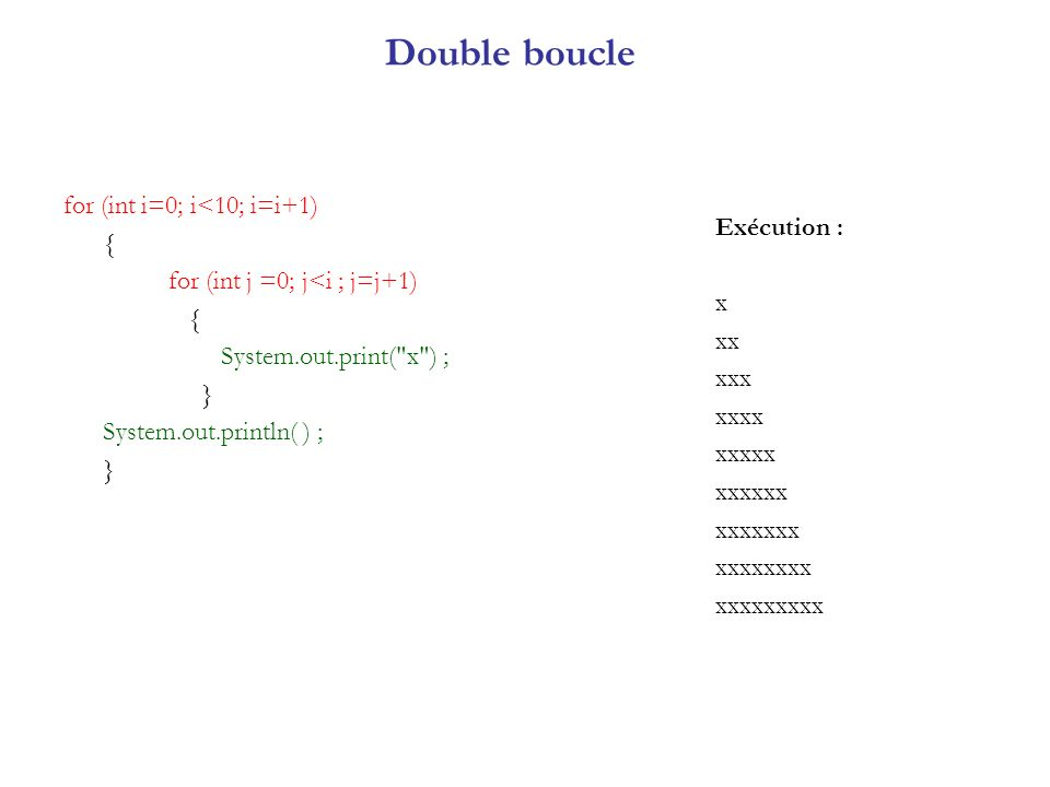 Double boucle for (int i=0; i<10; i=i+1) { Exécution :