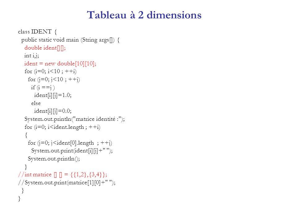Tableau à 2 dimensions class IDENT {