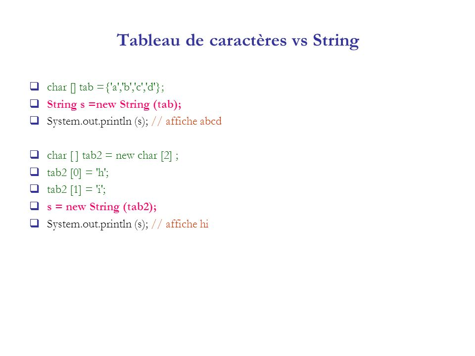 Tableau de caractères vs String