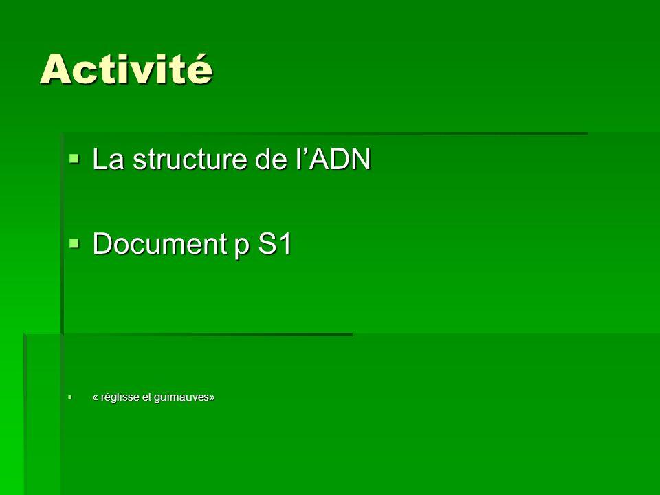 Activité La structure de l'ADN Document p S1 « réglisse et guimauves»
