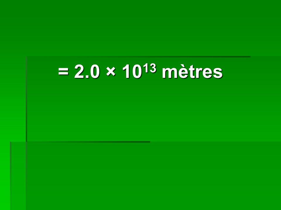 = 2.0 × 1013 mètres