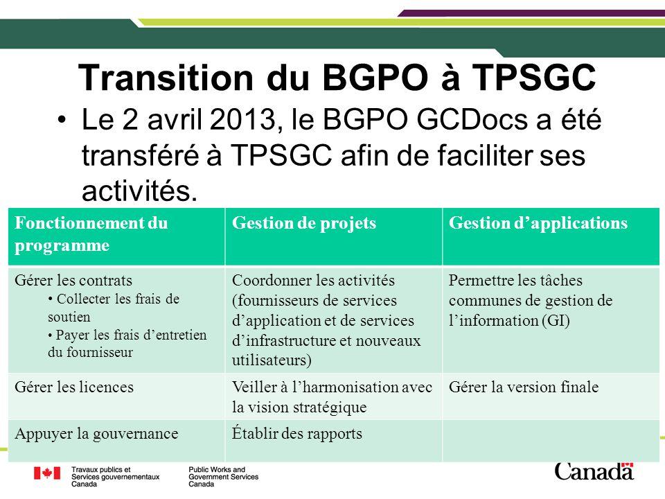 Transition du BGPO à TPSGC