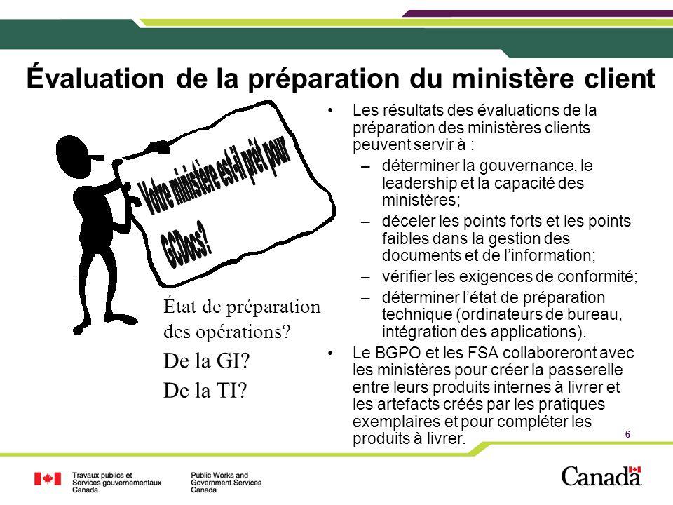 Évaluation de la préparation du ministère client