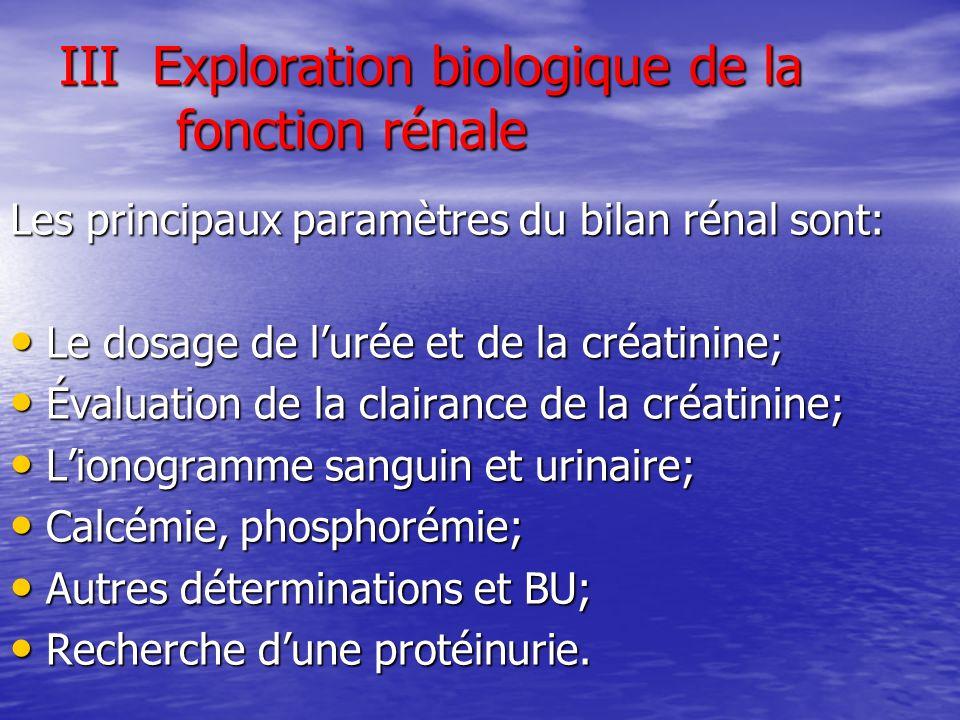 III Exploration biologique de la fonction rénale