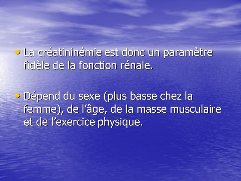 La créatininémie est donc un paramètre fidèle de la fonction rénale.