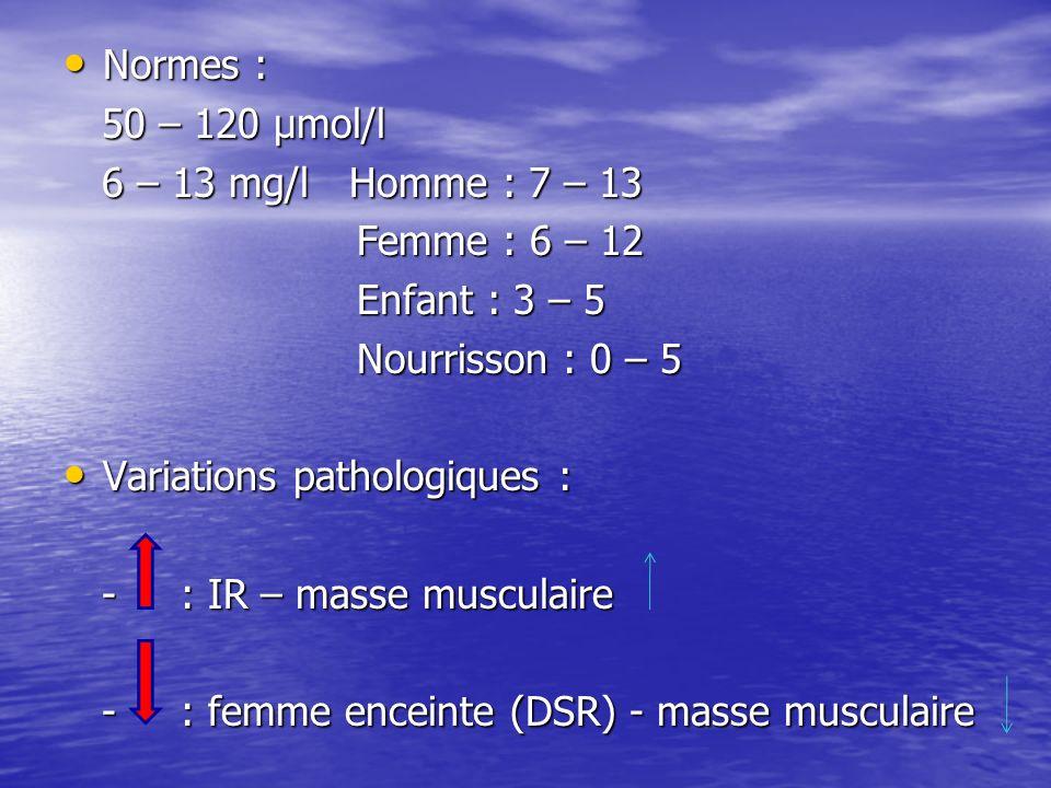 Normes : 50 – 120 µmol/l. 6 – 13 mg/l Homme : 7 – 13. Femme : 6 – 12. Enfant : 3 – 5. Nourrisson : 0 – 5.