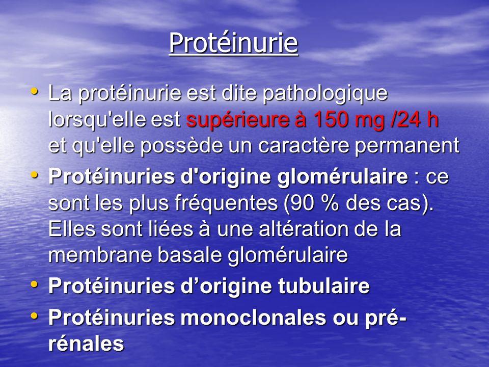 Protéinurie La protéinurie est dite pathologique lorsqu elle est supérieure à 150 mg /24 h et qu elle possède un caractère permanent.
