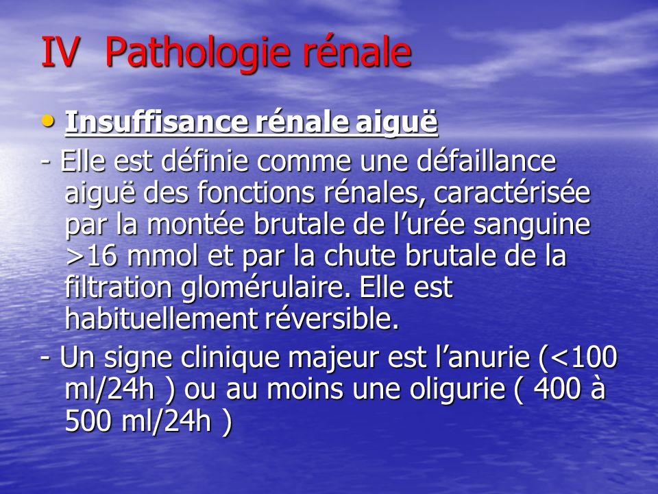 IV Pathologie rénale Insuffisance rénale aiguë
