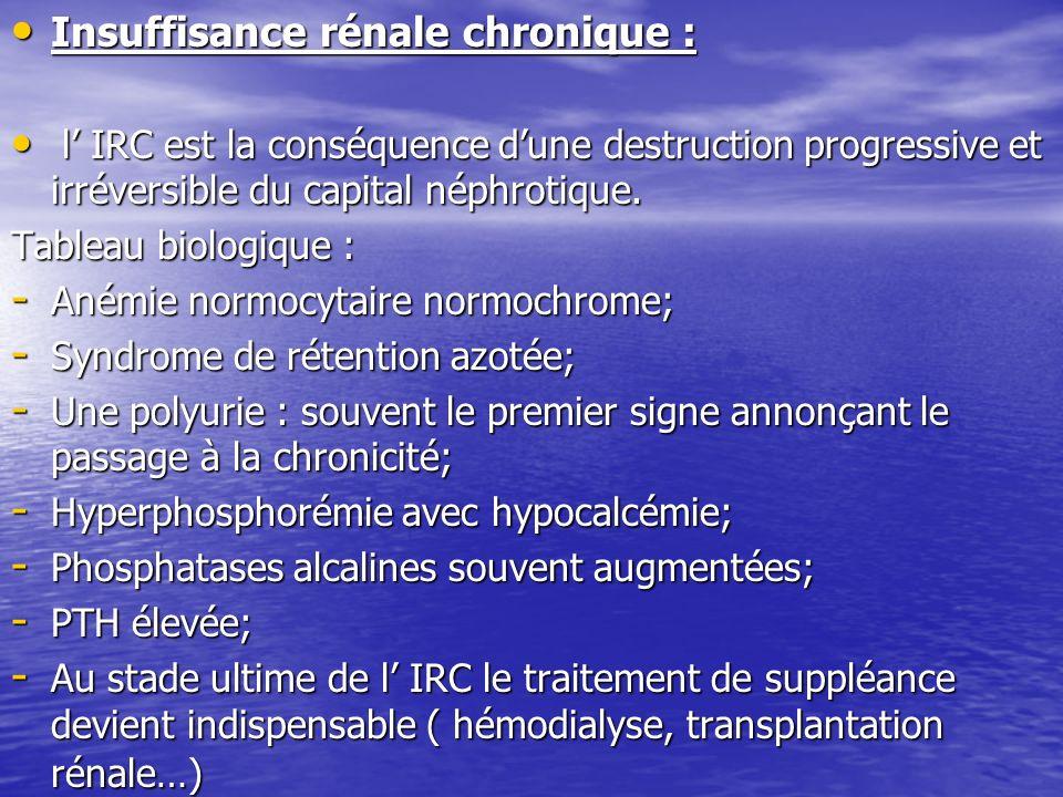 Insuffisance rénale chronique :