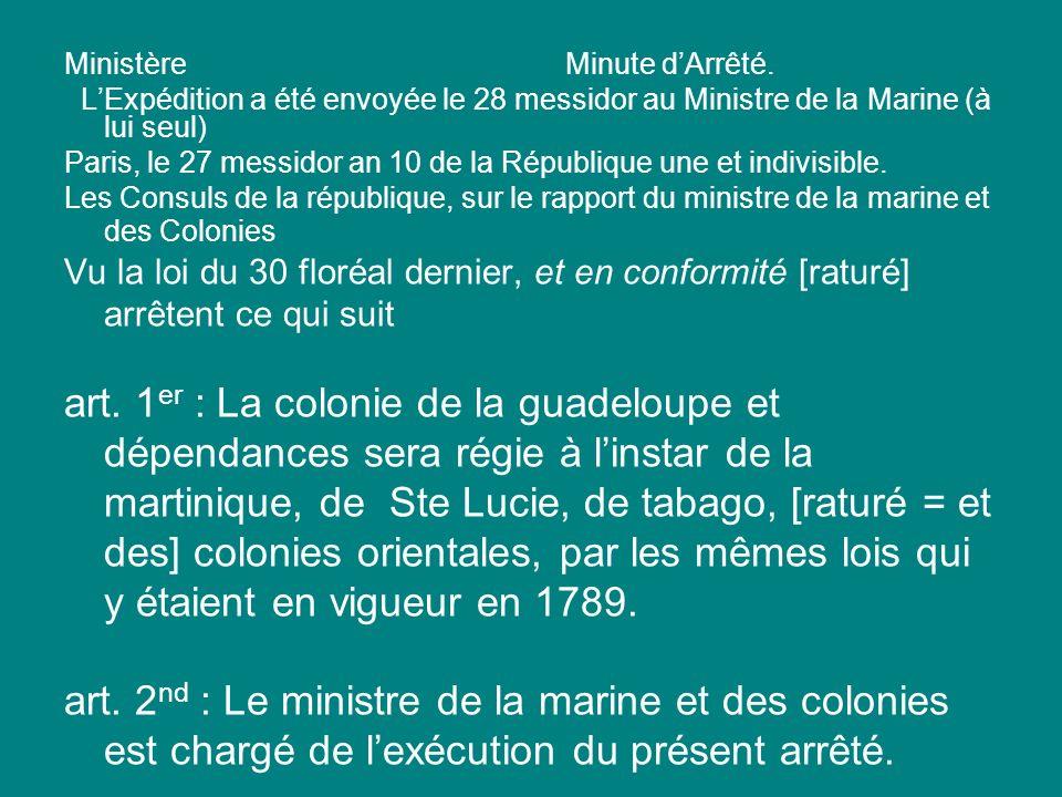 Ministère Minute d'Arrêté.