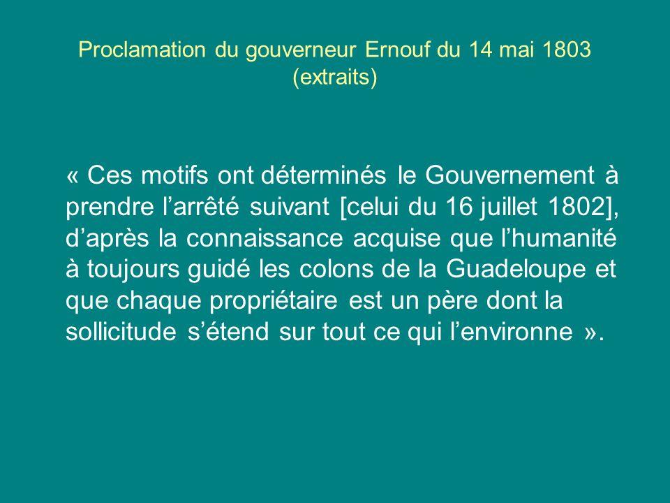 Proclamation du gouverneur Ernouf du 14 mai 1803 (extraits)