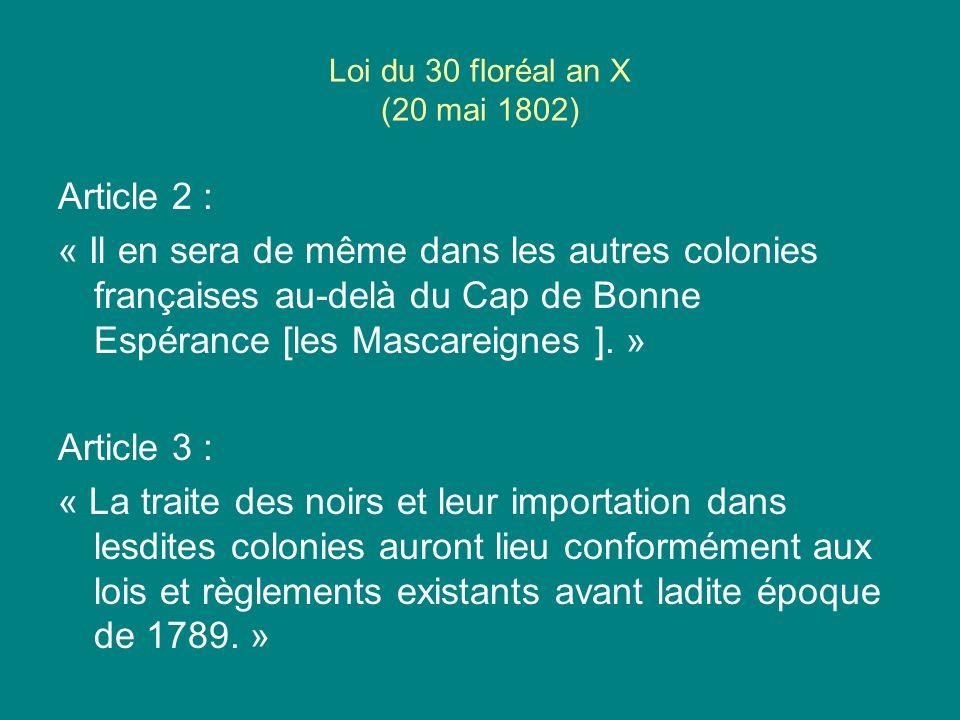 Loi du 30 floréal an X (20 mai 1802)