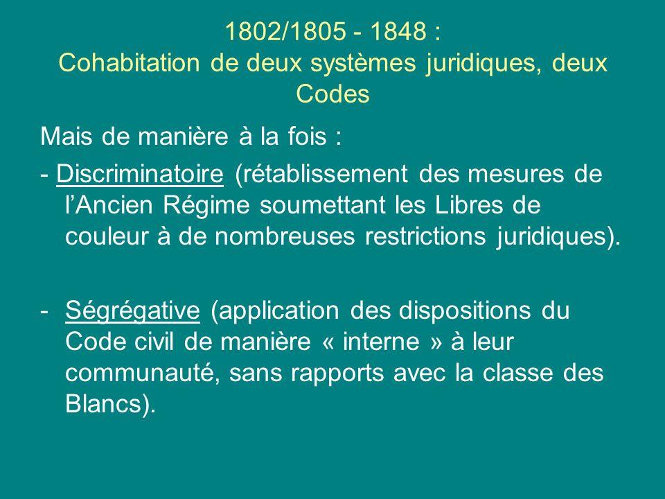 1802/1805 - 1848 : Cohabitation de deux systèmes juridiques, deux Codes