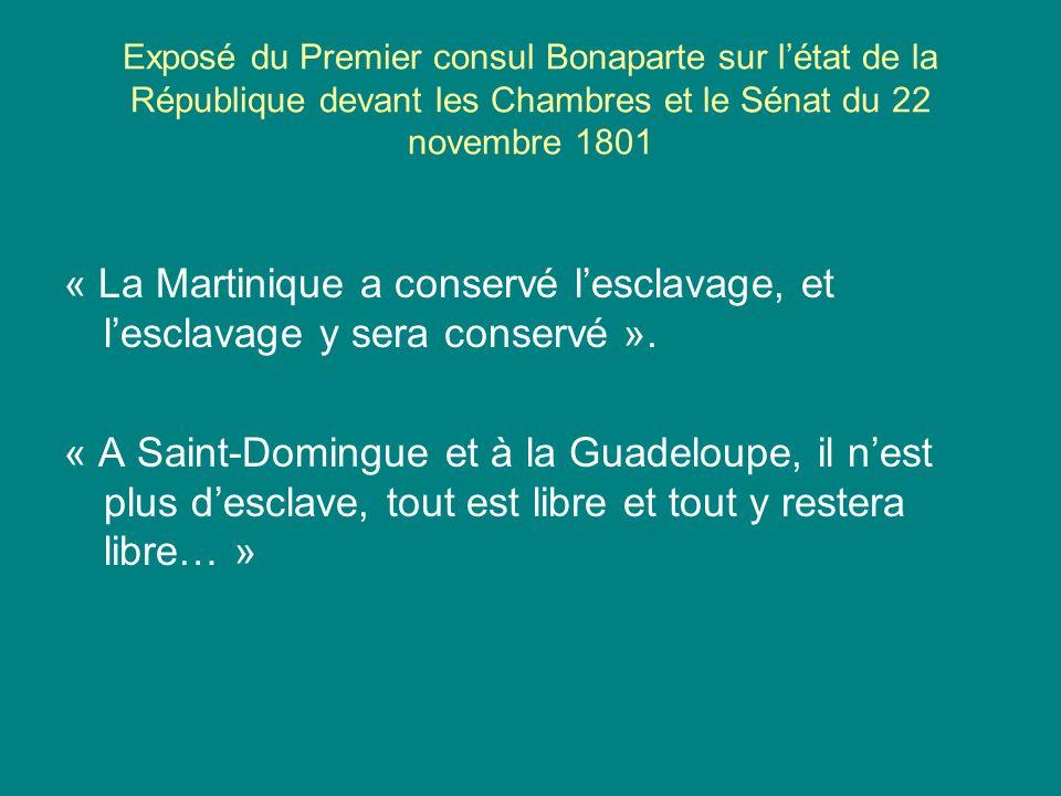 Exposé du Premier consul Bonaparte sur l'état de la République devant les Chambres et le Sénat du 22 novembre 1801