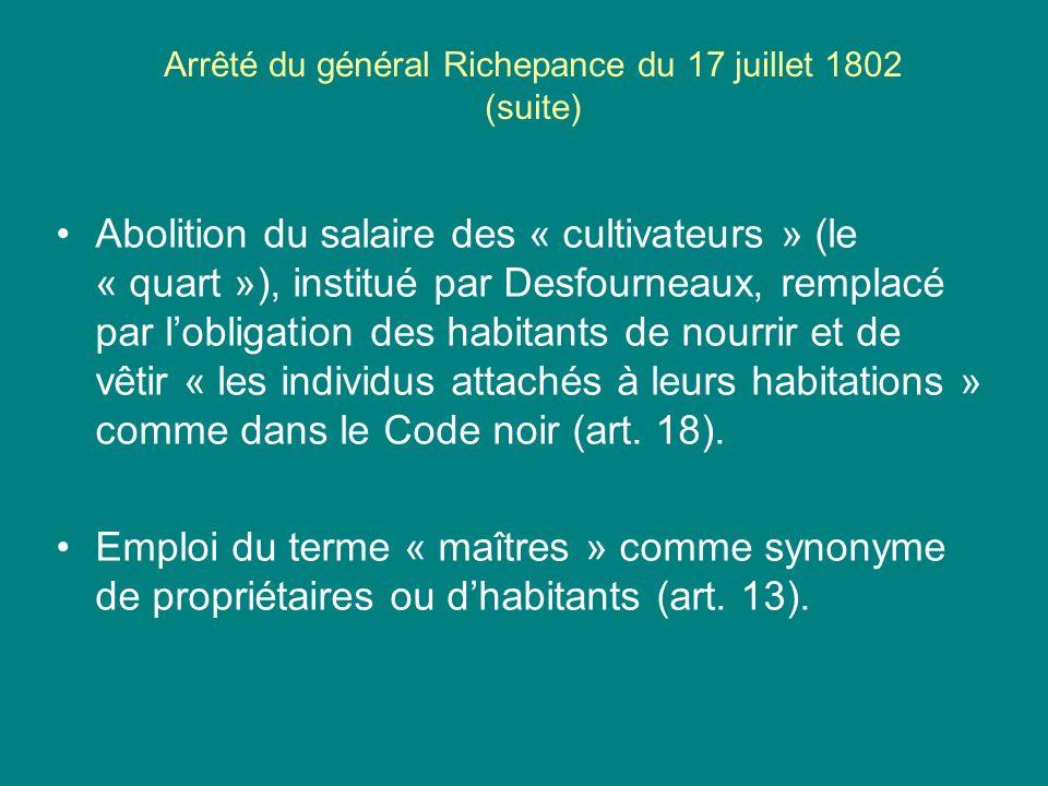 Arrêté du général Richepance du 17 juillet 1802 (suite)