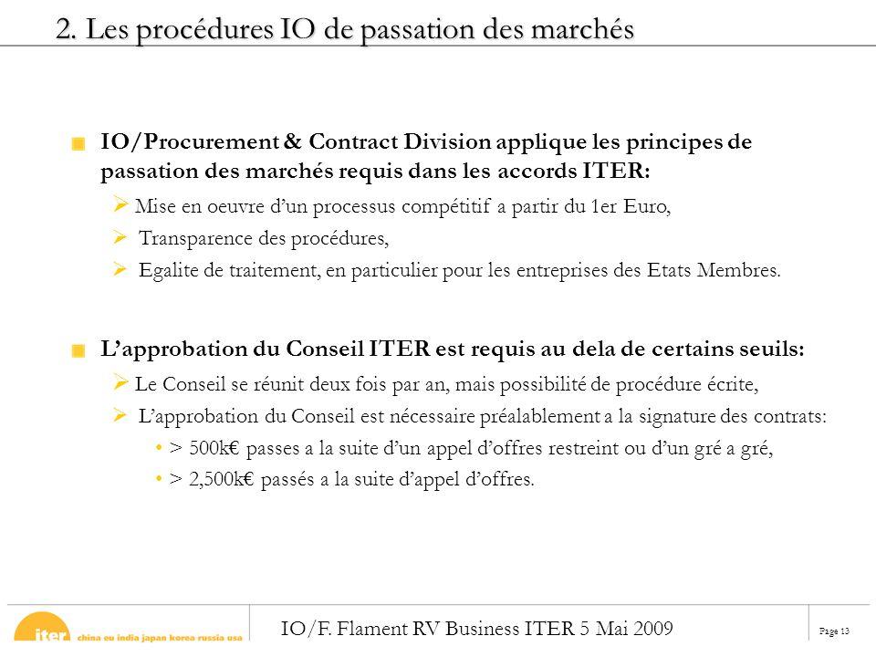 2. Les procédures IO de passation des marchés