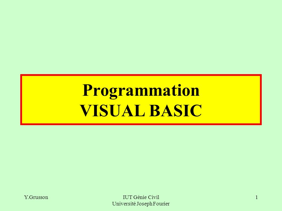 Programmation VISUAL BASIC